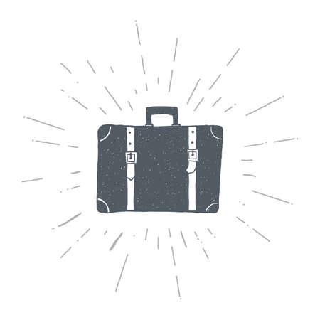 Hand drawn vintage suitcase. Sketch style. Vector illustration. T-shirt print. Poster. Retro badge. Emblem. Travel Bag Journey