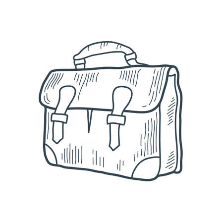 Hand drawn vintage briefcase. Bag. Sketch style. T-shirt print. Poster. Logo. Journey. Tour. Trip. Voyage. Ilustração