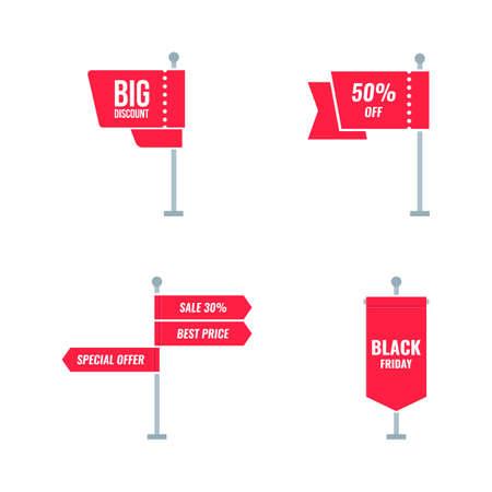 Red sale banner template design. Ilustração