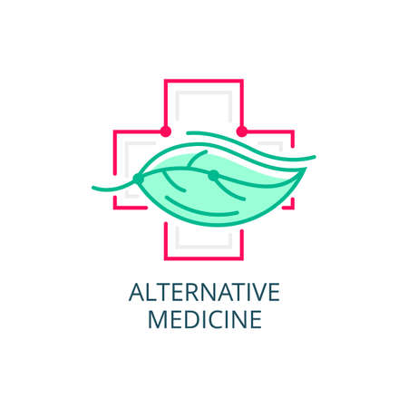 Vector Icon Style Logo Sign of Alternative Medicine. IV Vitamin Therapy, Anti-Aging, Wellness, Ayurveda, Chinese Medicine. Holistic centre.
