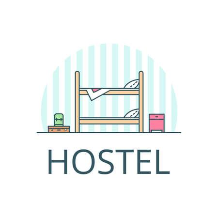 Hostel icon sign design. Flat illustration. Hostel concept.