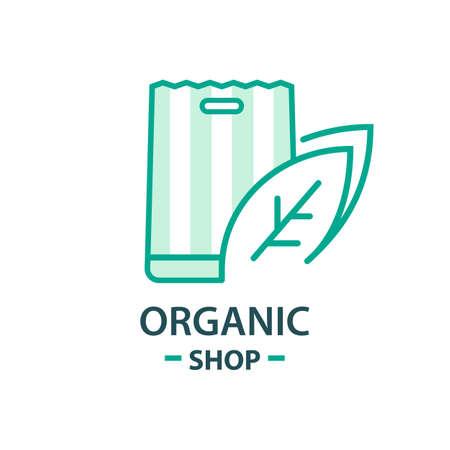 Healthy Organic eco vegetarian food Logo design vector template. Ecology Health eco Organic Logo fresh from farm vegetables Logotype concept icon. Ilustração