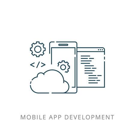 Illustration of mobile phone application development. Ilustração