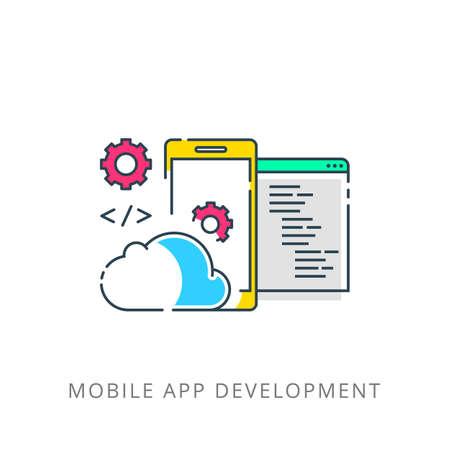 Mobile App Development, Experienced Team. Flat Vector illustration.