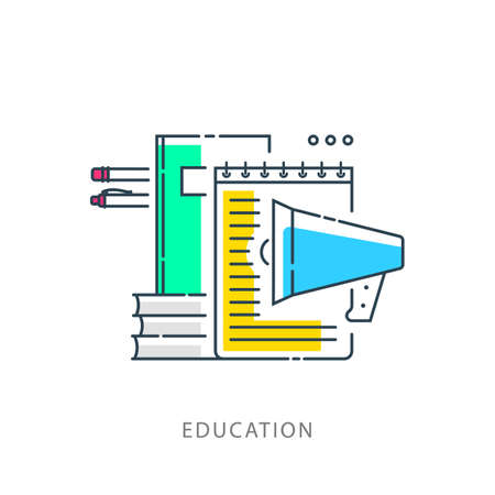 Education Open book school concept infographics of knowledge background symbols vector illustration. Training.