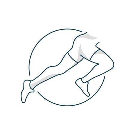Running female woman legs in shoes isolated on white background vector illustration. Fitness. Sport. Gym logo. Bodybuilding. Flat. Line art. Ilustração