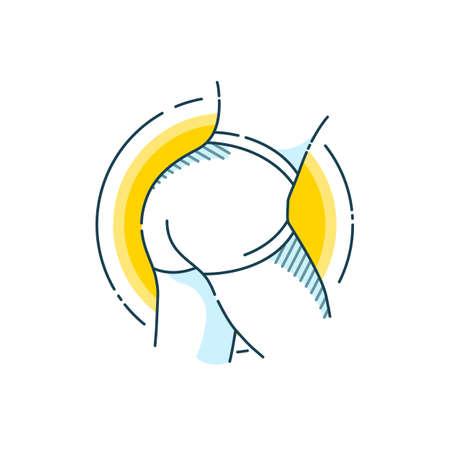Taut buttocks. Flat line art design concept. Fitness. Sport.  Bodybuilding. Illustration