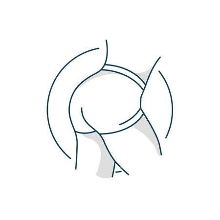 Taut buttocks. Flat line art design concept. Fitness. Logo. Bodybuilding.