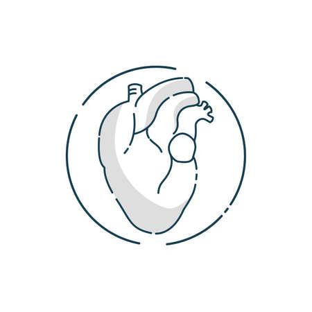 Vector illustration flat line art design concept. Fitness. Sport. Logo. Bodybuilding. Heart. Cardio.