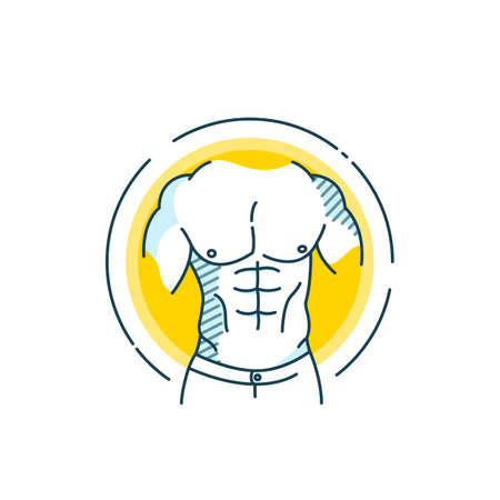 Vector illustration of creativity and inspiration flat line design concept. Fitness. Sport.