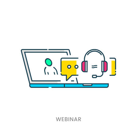 Webinar Illustration. Online Education and Training. Distance Learning Imagens