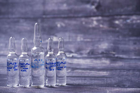 the medical ampoules with vaccine