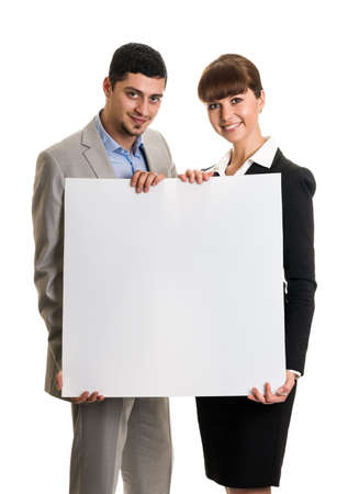 Business team couple holding blank poster photo