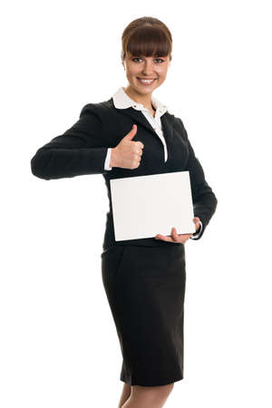 Business woman holding a card and a thumbs-up Stock Photo - 18338706