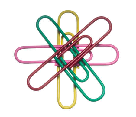 colored paper clips on a white background, isolated photo