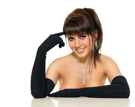 beautiful woman in a black glove on a white background photo