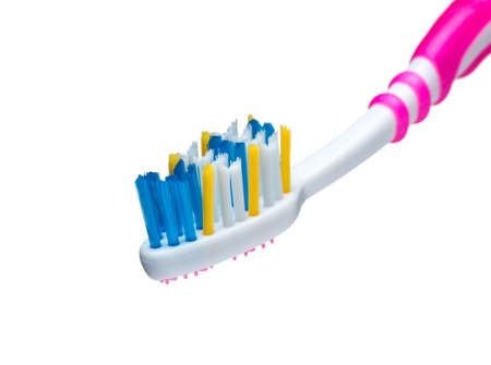 bristle: Red toothbrush bristles with color Stock Photo