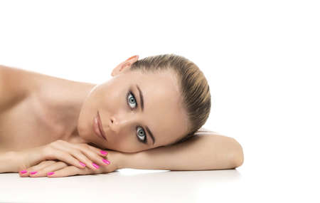 Beauty woman lying down  Spa young girl photo