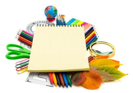 School and office supplies on white background  Back to school  photo