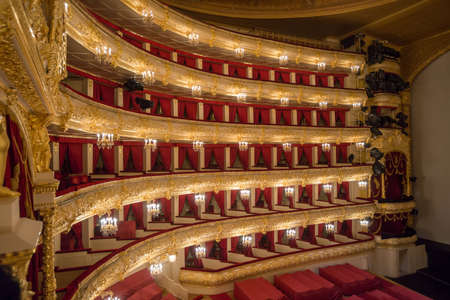 alberto: MOSCOW,RUSSIA-Augus t 09  The Bolshoi Theatre a historic theatre of ballet and opera in Moscow, Russia,the interior by main foyer architect Alberto Cavos in1895  on August 09,2013 in Moscow,Russia