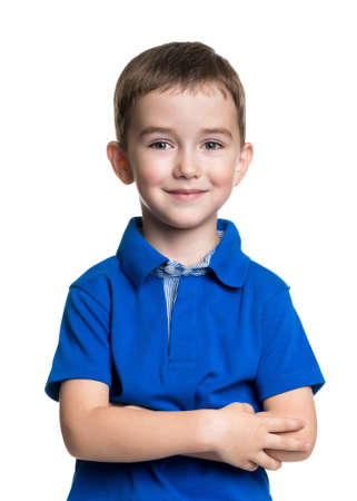 Portrait of happy joyful beautiful little boy isolated on white background photo