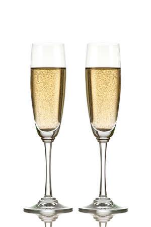 Champagne glazen geïsoleerd op wit Stockfoto