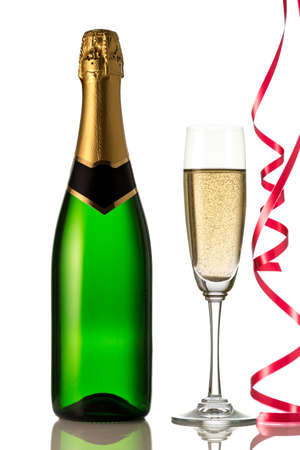 Glasses and bottle of champagne, serpentine isolated on a white background  Celebration  New Year Card  photo