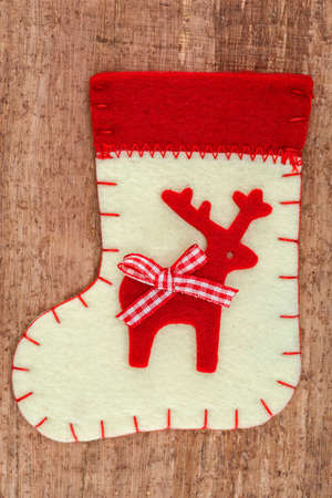 nikolaus: Christmas decorations and sock on wood Beautiful Christmas card  Stock Photo