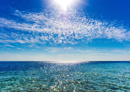 perfect sky and water of ocean photo