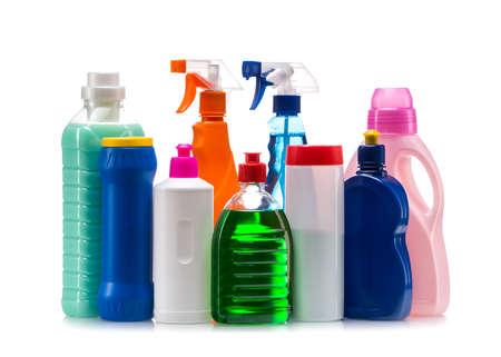 Product plastic container reiniging voor huis schoon op een witte achtergrond