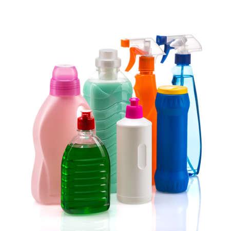 Product plastic container voor huis schoon schoonmaak op witte achtergrond