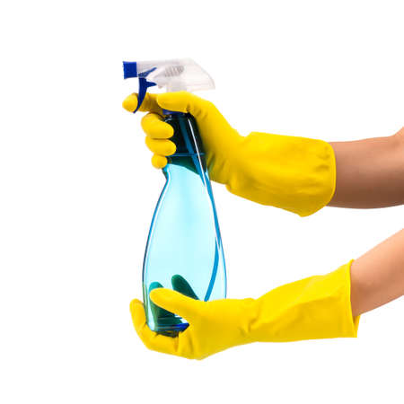 Cleaning spray in hand isolated on white Standard-Bild
