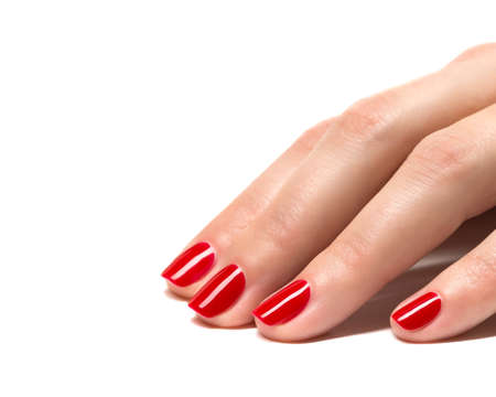 nail color: Woman hands with manicured red nails closeup  Skin and nail care