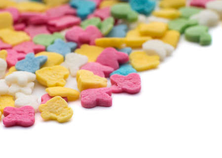 jimmies: Colorful candy confetti on the white background Stock Photo