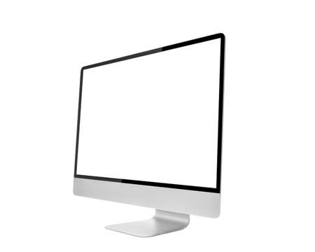 Computer Monitor, like mac with blank screen  Isolated on white background