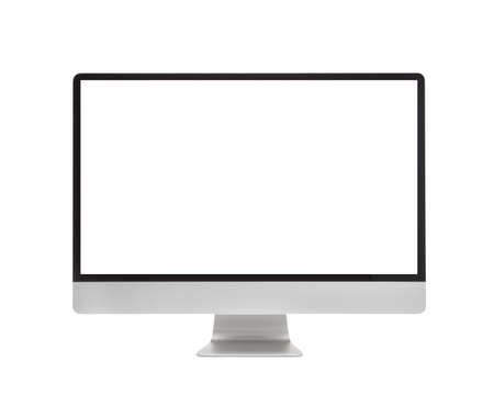 monitor de computadora: Monitor, con pantalla en blanco aislado en fondo blanco Foto de archivo