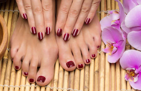 pedicure: Pedicure and manicure in the salon spa, hand and feet care