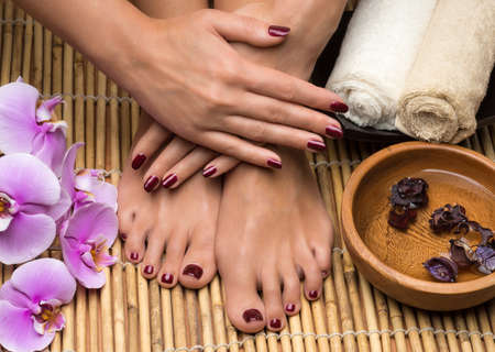 Pedicure and manicure in the salon spa photo