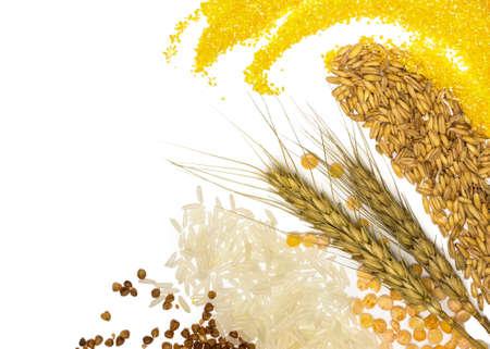 穀物のトウモロコシ、小麦、ソバ、キビ、ライ麦、米や豆