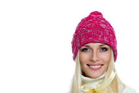 outerwear: Donna felice in tuta sportiva di inverno Archivio Fotografico