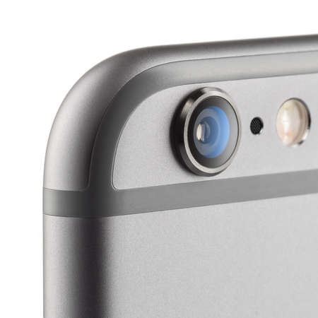 MOSKOU, RUSLAND - 26 september 2014: Foto van de camera iPhone 6 is een smartphone ontwikkeld door Apple Inc. Apple introduceert de nieuwe iPhone 6 en iPhone 6 Plus