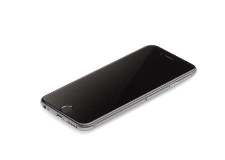 six people: MOSCOW, RUSSIA - SEPTEMBER 27, 2014: New iPhone 6 is a smartphone developed by Apple Inc. Apple releases the new iPhone 6 and iPhone 6 Plus