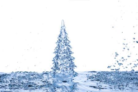 agua splash: �rbol de navidad en el fondo azul