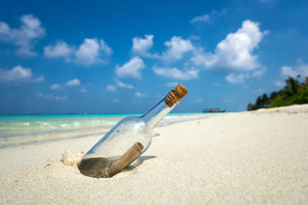 dismay: Message in a bottle washed ashore on a tropical beach.
