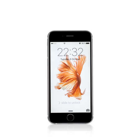 six people: MOSCOW, RUSSIA - OCTOBER 06, 2015: New iPhone 6 s is a smartphone developed by Apple Inc. Apple releases the new iPhone 6 s and iPhone 6 s Plus
