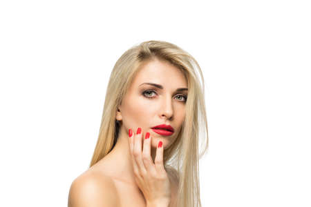 sexy lips: Beautiful Blond Woman Portrait close-up. Hairstyle. Red lips. Manicured nails. Stock Photo