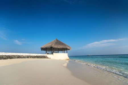 island paradise: Perfect tropical island paradise beach Maldives Stock Photo