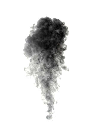black smoke: Abstract black smoke on white background Stock Photo