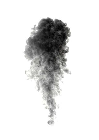 black smoke: Abstract black smoke on white background Stock Photo