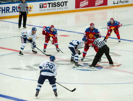 honored: MOSCOW - APRIL 30, 2016: The players Russian National Team  and Finland National Team hockey game Russia vs Finland on Eurotrip 2016, in VTB Arena Ice Palace, Moscow, Russia Editorial